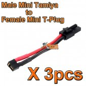 3pcs X BOL Male Mini Tamiya to Female Mini T-Plug Airsoft Battery Wire for Airsoft AEG EBB