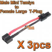 3 X BOL Male Mini Tamiya to Female Large T-Plug Airsoft Battery Wire for Airsoft AEG EBB