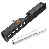 BELL Custom Slide S Type for Marui G17 GBB (Black & Silver Barrel)