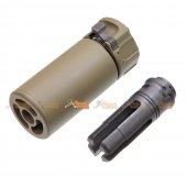 5KU QD Mini Airsoft Silencer w/ -14mm CCW Flashider (Dark Earth)