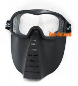 Airsoft Full Face Clear Mask (Black)