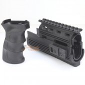 CYMA Railed Handguard and Tactical Grip for AK Series AEG (Black)