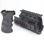 CYMA Railed Handguard and Tactical Grip for AK Series AEG (Black)
