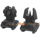 Polymer Pair of Push Up Low Profile Front and Back Sights BK for 20mm Rail - Black