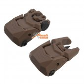 Polymer Pair of Push Up Low Profile Front and Back Sights BK for 20mm Rail - TAN