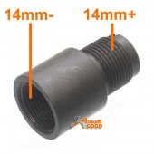 Steel 14mm Barrel Adapter for Airsoft AEG GBB GBBR ( CCW to CW / 14mm- to 14mm+)