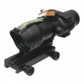 Military Tactical ACOG Style Solar Power 1x32 Green Dot Optical Rifle Sight Scope fit 20mm QD Mount for Airsoft Hunting AEG