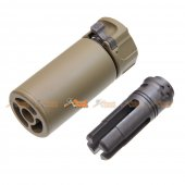 5KU QD Mini Airsoft Silencer w/ -14mm CCW Flashider (Dark Earth)