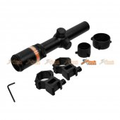 Black Owl Gear 1.5-6X24 OPTIC FIBRE Illuminated Rifle Scope With Mount (Red)