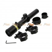 Black Owl Gear 1.5-6X24 OPTIC FIBRE Illuminated Rifle Scope With Mount (Green)