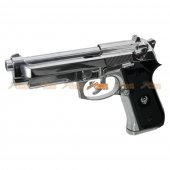 Keymore HFC M9A1 HGC-194 Gas Powered Tactical Airsoft Pistol w/ Blowback - Semi / Full Auto (Silver)