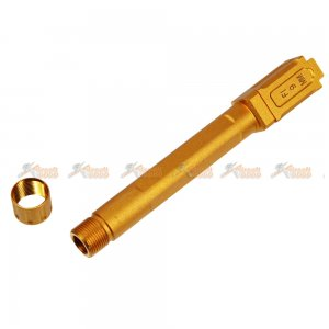 Aluminum -14mm FI Threaded Barrel for Marui G17 / G18c Series Airsoft GBB (Gold)
