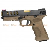 APS SHARK-D Semi/Auto GBB Pistol (Black Slide, Dark Earth Frame)