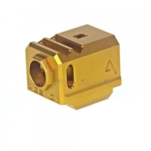 Agency Arms Glock 417 14mm CCW Aluminum Compensator for Marui / VFC /  WE-Tech G17 / G18C Airsoft GBB Series (Gold)