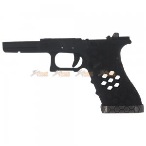 AW CUSTOM Hex Cut Lower Frame Full Set for Marui G17 G34 GBB (Black) (Steel Slide Rail)