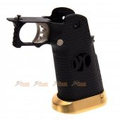 AW IPSC Grip Set for Marui / WE Hi-Capa 5.1, 4.3 Airsoft GBB Black w/ Gold