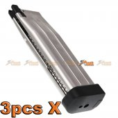 3pcsX AW Custom 30rds HXMG06 5.1 Gas Magazine for Marui WE Airsoft GBB (Silver)