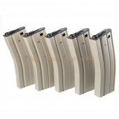 450rds Hi-Capa Magazines for Marui & King Arms M4 Series Airsoft AEG (5pcs Pack, DE)