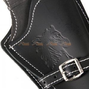 tactical airsoft right handed synthetic leather belt holster horse pattern