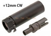 SOCOM 46 Style Mini Dummy Silencer with +12mm CW Flash Hider for VFC / KWA / KWC MP7 GBB (Black)
