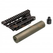 Battleaxe Metal Extended Keymod Handguard Rail with (+/-)14mm Silencer for Marui / CYMA P90 AEG (Black , Olive green)