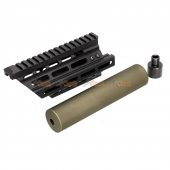 Battleaxe Metal Extended Keymod + M-LOK Handguard Rail with (+/-)14mm Silencer for Marui / CYMA P90 AEG (Black , Olive green)