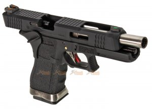 we g34 t5 gbb pistol black slide black frame silver barrel