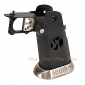 AGG IPSC Grip for Marui/WE Hi-Capa 5.1, 4.3 GBB (Type 9, Black & Silver)