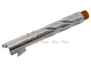 CowCow Tornado Stainless Steel .45 ACP Marking Threaded Outer Barrel with Adapter for Marui Hi-Capa 5.1 (Silver)