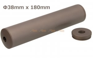180x38mm Metal Silencer (14mm CCW & 14mm CW) for AEG / GBBR