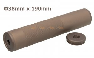 190x38mm Metal Silencer (14mm CCW & 14mm CW) for AEG / GBBR