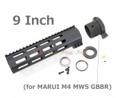 RGW 9 Inch QD Takedown System M-LOK Rail Handguard with Connector Base for Marui M4 MWS GBBR ( BK )