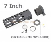 RGW 7 Inch QD Takedown System M-LOK Rail Handguard with Connector Base for Marui M4 MWS GBBR ( BK )