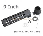 RGW 9 Inch QD Takedown System M-LOK Rail Handguard with Connector Base for VFC / WE M4 GBB ( BK )