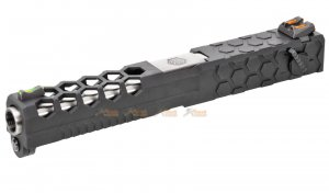 Armorer Works Alloy Hex Cut Slide Set for Marui, WE, AW G18C GBB (Black,Silver)