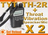 2X TYT TH-2R 400-480MHz Radio Walkie + Throat-Vibration Mic