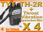 4X TYT TH-2R 400-480MHz Radio Walkie + Throat-Vibration Mic
